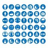 Insieme dei segni di protezione della salute e di sicurezza Segni obbligatori di industria e della costruzione Raccolta dell'attr Fotografia Stock