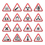 Insieme dei segni di rischio d'avvertimento triangolari Fotografia Stock Libera da Diritti