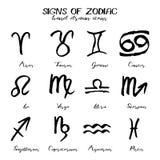 Insieme dei segni di stile disegnato dello zodiaco a disposizione royalty illustrazione gratis