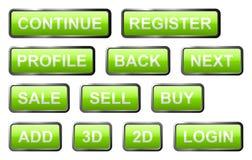 Insieme dei segni di vetro verde Fotografia Stock Libera da Diritti