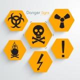 Insieme dei segni e dei simboli del pericolo Immagine Stock Libera da Diritti