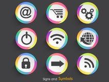 Insieme dei segni e dei simboli di web Fotografie Stock