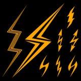 Insieme dei segni gialli del fulmine Fotografie Stock