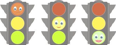Insieme dei semafori con i sorrisi Fotografia Stock Libera da Diritti