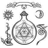Insieme dei simboli alchemical Un occhio di provvidenza in una boccetta, reazione chimica La geometria sacra illustrazione di stock