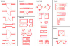 Insieme dei simboli architettonici Fotografie Stock Libere da Diritti