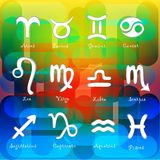 Insieme dei simboli astrologici dello zodiaco. Illustrazione Vettoriale