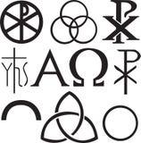 Insieme dei simboli cristiani Fotografia Stock