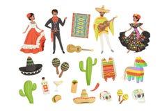 Insieme dei simboli culturali Messico Sombrero, cactus, poncio, maracas, taco, pinata, chitarra, cranio Uomo ispano e donna illustrazione di stock