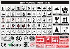 Insieme dei simboli d'imballaggio, FCC, ROHS, stoviglie, plastica, simboli fragili, simboli del cartone illustrazione vettoriale