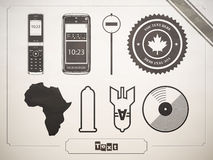 Insieme dei simboli, dei segni e delle icone. Telefono, un preservativo illustrazione di stock