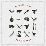 Insieme dei simboli del barbecue e della macelleria con effetto dello scritto tipografico Illustrazione di vettore illustrazione di stock