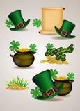 Insieme dei simboli del giorno di St Patrick Illustrazione di vettore Immagine Stock
