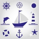 Insieme dei simboli del mare Immagini Stock