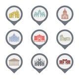 Insieme dei simboli dell'Italia, punti di riferimento in bianco e nero Illustrazione di vettore Roma, Venezia, Milano, Italia Immagini Stock