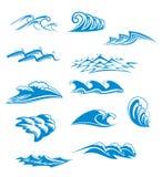 Insieme dei simboli dell'onda Fotografia Stock
