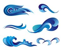 Insieme dei simboli dell'onda per il disegno isolato su bianco