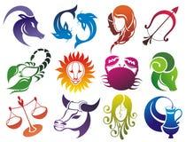Insieme dei simboli dello zodiaco Immagini Stock