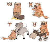 Insieme dei simboli dello zodiaco con i gatti Isolato su bianco fumetto Fotografia Stock