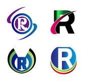 Insieme dei simboli di alfabeto ed elementi della lettera R, un tal logo Immagine Stock Libera da Diritti