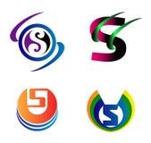 Insieme dei simboli di alfabeto ed elementi della lettera S, un tal logo Fotografie Stock Libere da Diritti