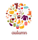 Insieme dei simboli di autunno di scarabocchi Immagine Stock