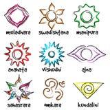 Insieme dei simboli di chakras Fotografie Stock Libere da Diritti