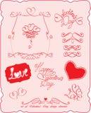 Insieme dei simboli di giorno del `s del biglietto di S. Valentino e degli elementi di disegno Immagini Stock