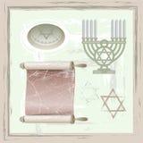 Insieme dei simboli di giudaismo Fotografia Stock