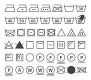 Insieme dei simboli di lavaggio (icone della lavanderia) Fotografia Stock Libera da Diritti