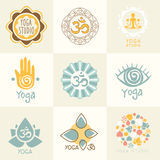 Insieme dei simboli di meditazione e di yoga Fotografie Stock