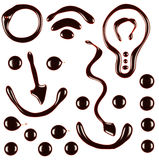 Insieme dei simboli differenti dello sciroppo di cioccolato Immagini Stock