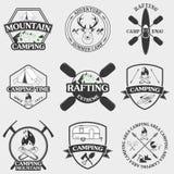 Insieme dei simboli e delle icone di campeggio dell'attrezzatura Immagine Stock Libera da Diritti
