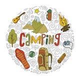 Insieme dei simboli e delle icone di campeggio dell'attrezzatura di schizzo disegnato a mano Illustrazione di vettore Fotografie Stock Libere da Diritti