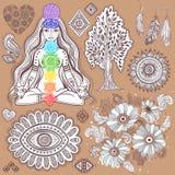 Insieme dei simboli indiani ornamentali illustrazione di stock