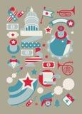 Insieme dei simboli patriottici di U.S.A. Fotografia Stock