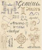 Insieme dei simboli per i Gemelli o i gemelli del segno dello zodiaco Immagine Stock Libera da Diritti