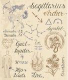 Insieme dei simboli per il Sagittario o Archer del segno dello zodiaco Immagine Stock Libera da Diritti