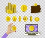 Insieme dei simboli piani del bitcoin e di cryptocurrency Fotografia Stock Libera da Diritti