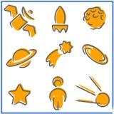 Insieme dei simboli spazio-di tema in uno stile molto semplice illustrazione vettoriale