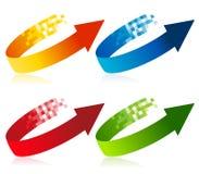 Simboli della freccia del pixel Fotografie Stock