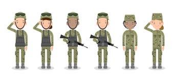 Insieme dei soldati Uomini e donne progettazione di personaggio dei cartoni animati piana isolata su fondo bianco L'esercito amer illustrazione vettoriale