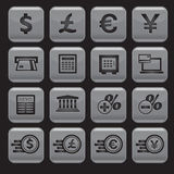 Icone dei soldi e finanziarie messe Fotografia Stock