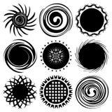 Insieme dei soli neri differenti di monocromio isolati su fondo bianco Fotografia Stock Libera da Diritti