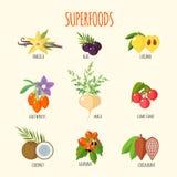 Insieme dei superfoods nello stile piano Fotografie Stock