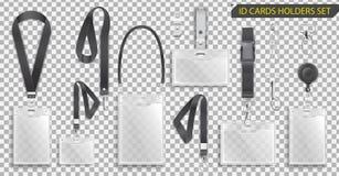Insieme dei supporti di carte realistici di identificazione dei distintivi sulle cordicelle nere con le clip della cinghia, il ca fotografia stock