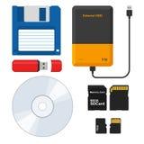 Insieme dei supporti di memorizzazione esterni: Floppy disk, drive del hard disk esterno, memory stick istantaneo di USB dell'azi illustrazione vettoriale