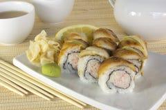 Insieme dei sushi in bambù Fotografia Stock Libera da Diritti