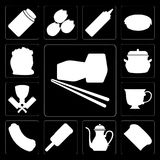Insieme dei sushi, pane, teiera, gelato, hot dog, tè, macellaio, P royalty illustrazione gratis
