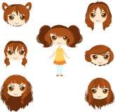 Insieme dei tagli di capelli della ragazza di anime Fotografia Stock Libera da Diritti